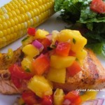 Grilled Salmon with Peach Mango Salsa