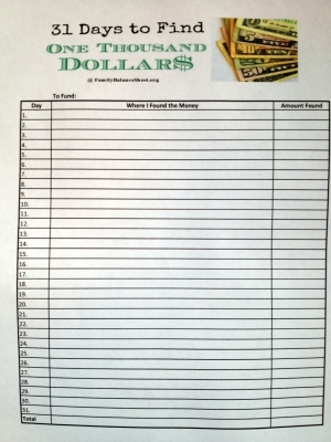 31 Days to Find $1000 tally sheet