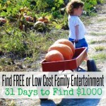 Find FREE or Low Cost Family Entertainment | 31 Days to Find $1000