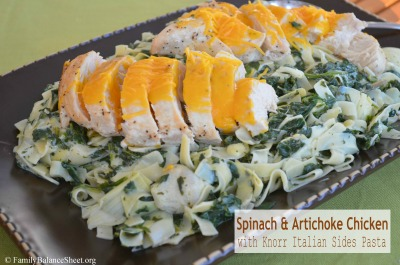 Spinach Amp Artichoke Chicken With Knorr Italian Sides Pasta