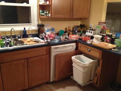 freezer cooking - messy kitchen