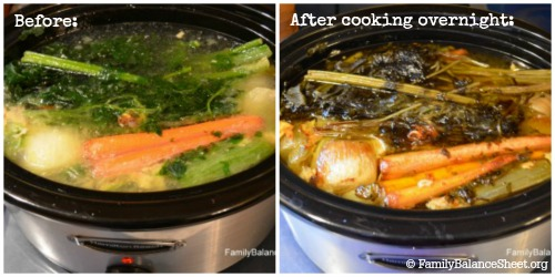 Before After chicken stock in the slow cooker