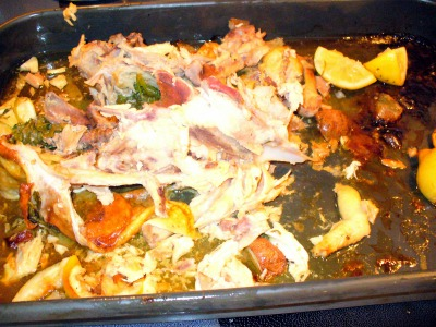 leftover chicken carcass