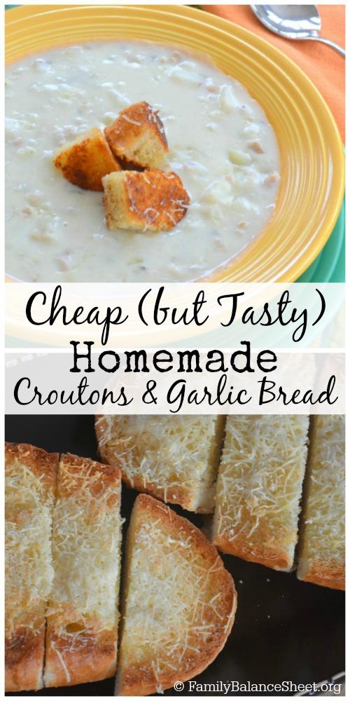 Homemade croutons & garlic bread (v)