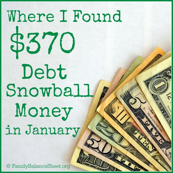 where I found $370 debt snowball money in january