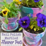 Nail Polish Marbled Flower Pots – a kid-friendly craft