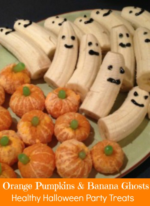 Healthy Halloween Party Treats - orange pumpkins and banana ghosts