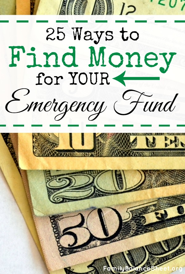 25 Ways to Find Money for your emergency fund