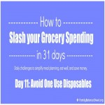 Day 11 of 31 Days to Slash your Grocery Spending: Avoid One Use Disposables