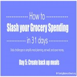 Day 5 of 31 Days to Slash your Grocery Spending: Create back up meals