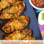 Twice Baked Sweet Potato with Turkey & Black Bean Taco Meat