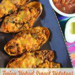 Twice Baked Sweet Potato with Turkey & Black Bean Taco Meat