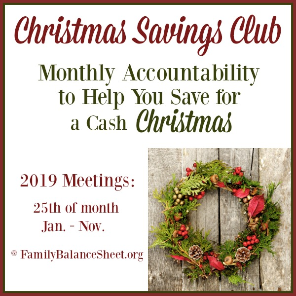 Christmas Spending.2019 Christmas Savings Club Family Balance Sheet