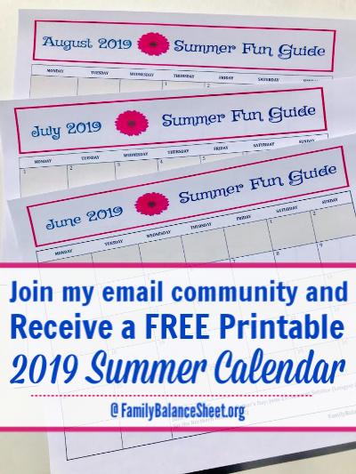 2019 Printable summer calenda