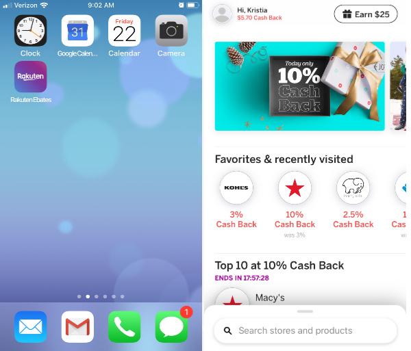 Rakuten phone app